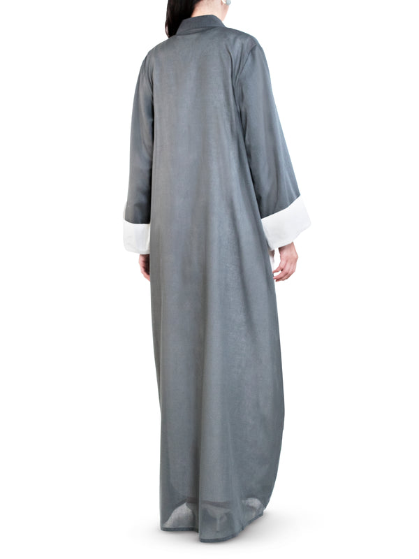 Grey Embellished Pocket Abaya