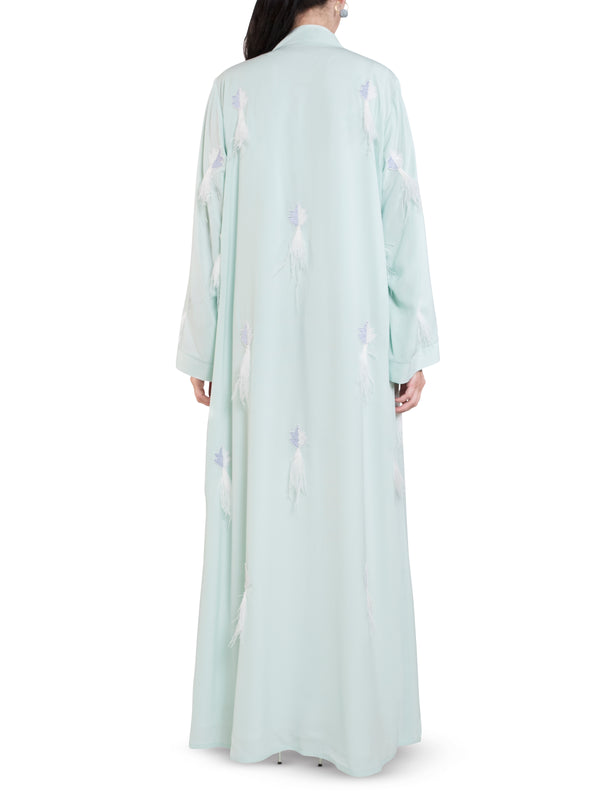 Mint All Over Feather Embellished Abaya