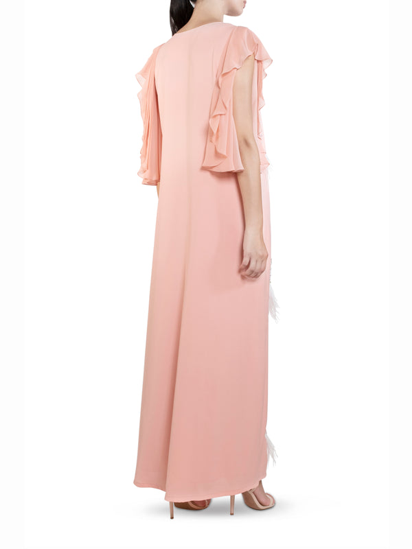 Blush Feather Embellished Kaftan