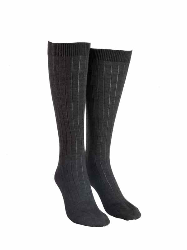 Dark Grey Knee High Wool Socks