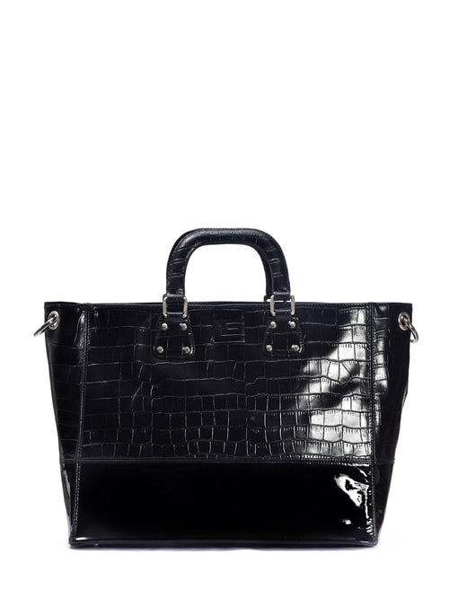Black Leather Patent Shopping Bag, GUY LAROCHE - elilhaam.com