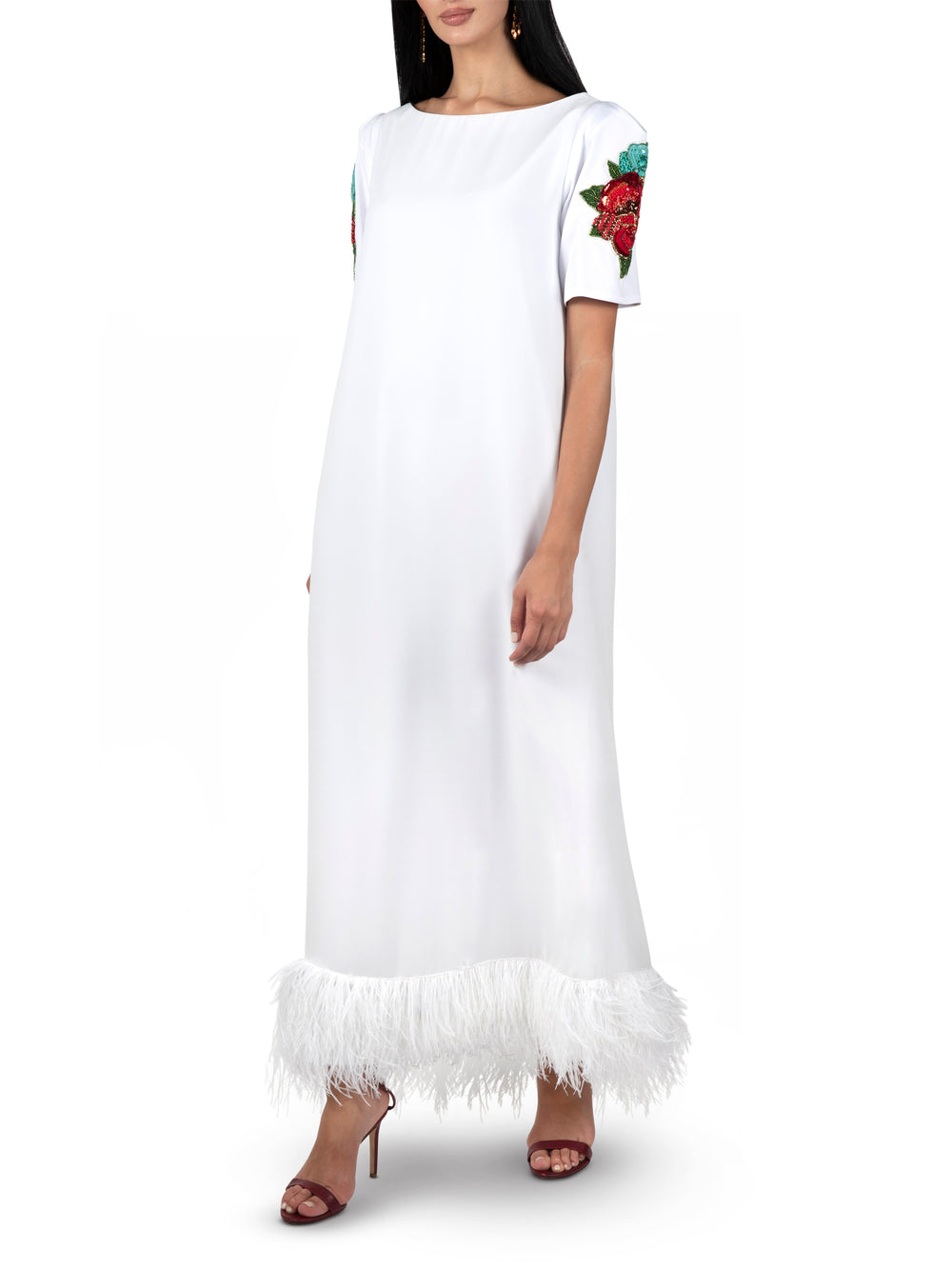 Floral White Feather Dress