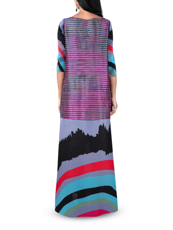 Striped Raw Silk Wave Dress