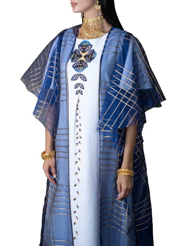 Checked Bisht With Embroidered Kaftan
