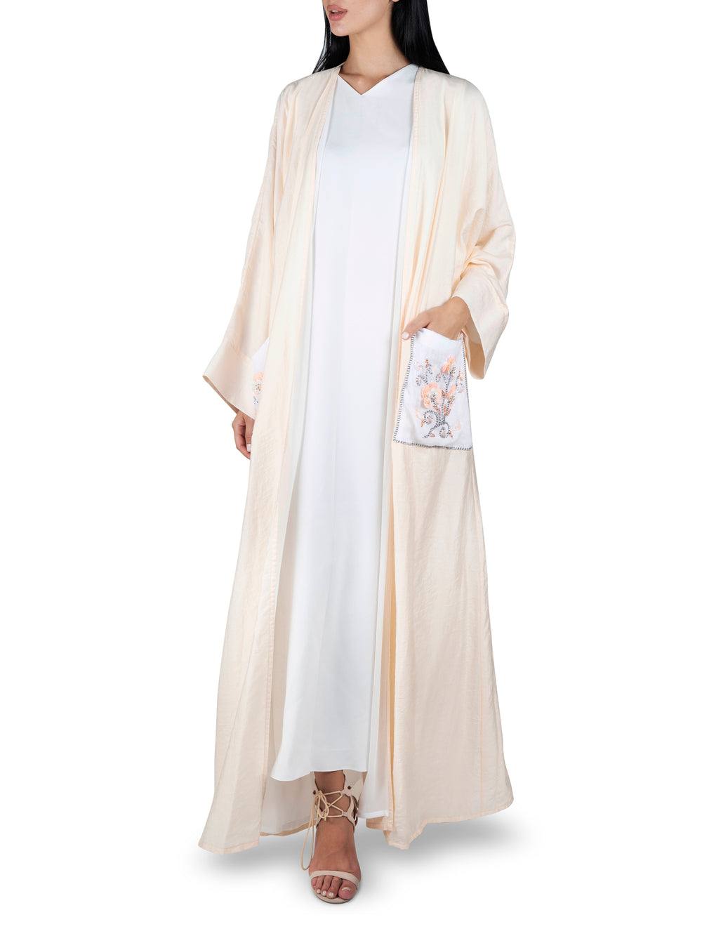 Embroidered Pocket Peach Abaya
