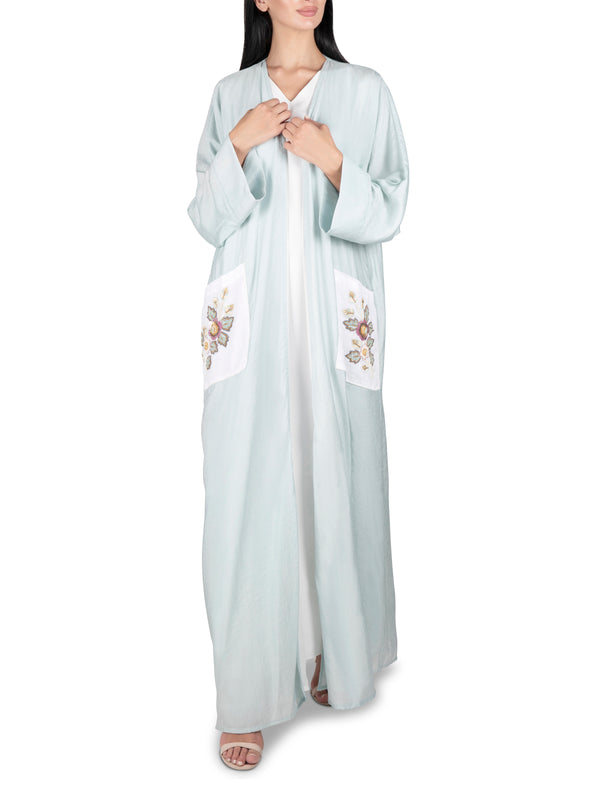 Embroidered Pocket Mint Abaya