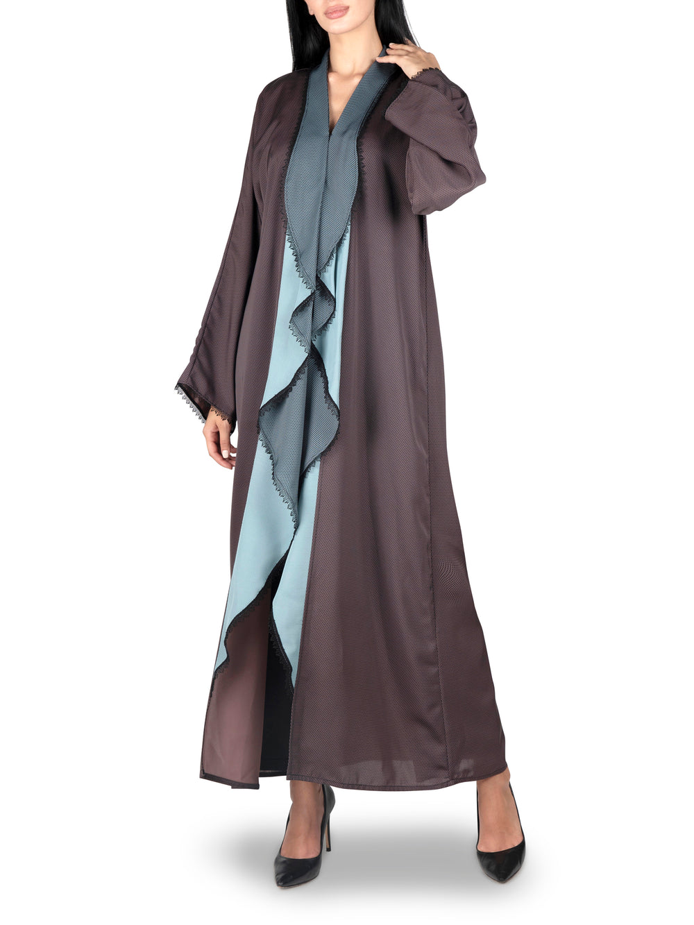 Reversible Aqua And Brown Abaya