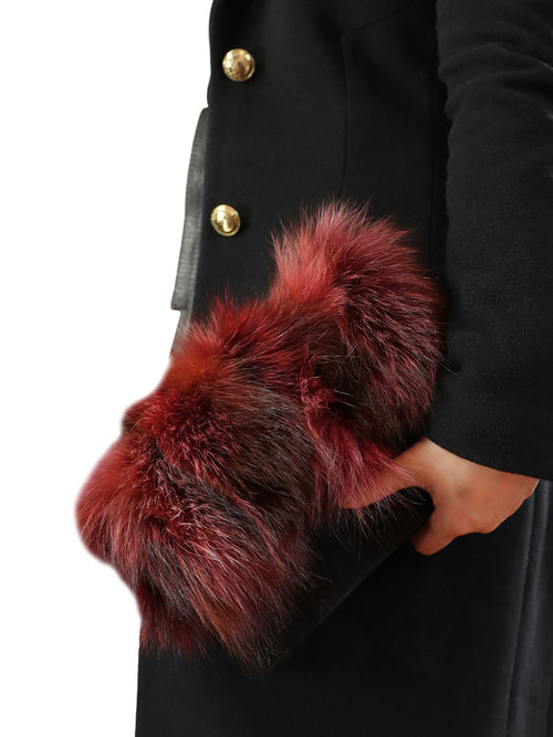 Bordeaux Fox Fur Clutch Bag