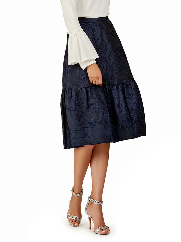 Navy Brocade Midi Skirt