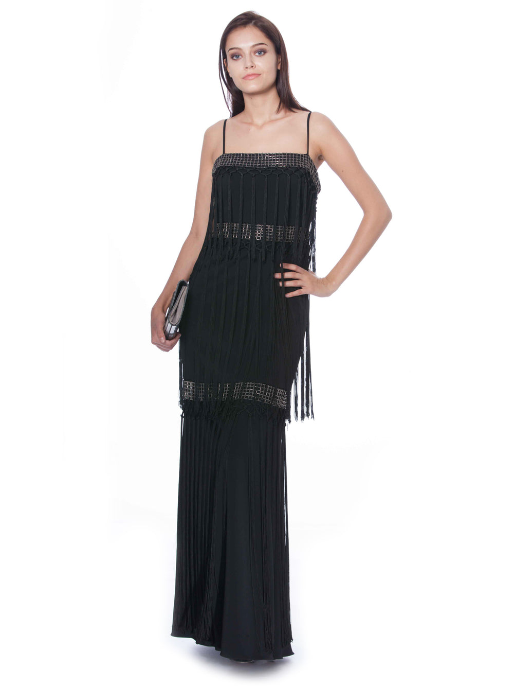 Sleeveless Embellished Tiered Fringe Gown, BADGLEY MISCHKA - elilhaam.com