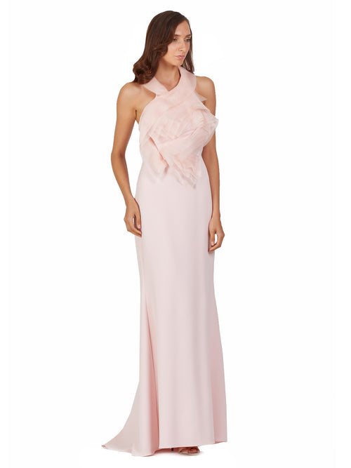 Blush Halter Gown, BADGLEY MISCHKA - elilhaam.com