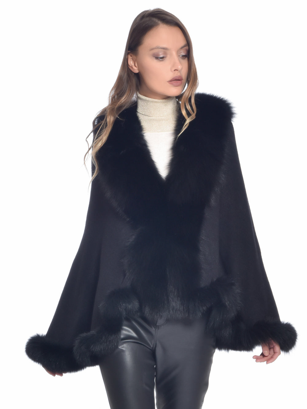 Black Fox Fur Cape, CHIZELLE - elilhaam.com