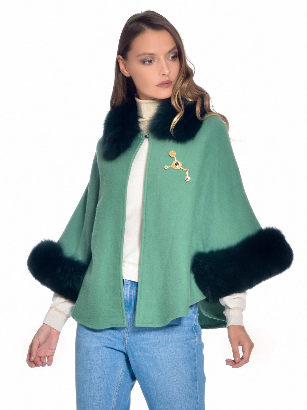 Green Fox Fur Cape