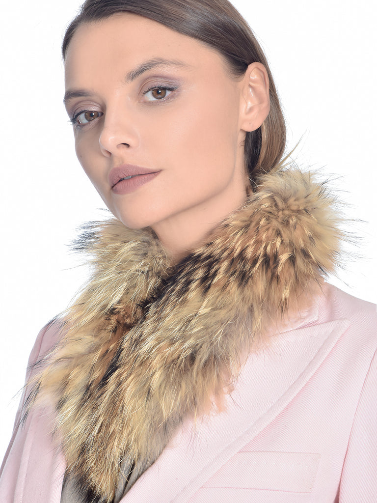 Brown Raccoon Fur Scarf, CHIZELLE - elilhaam.com