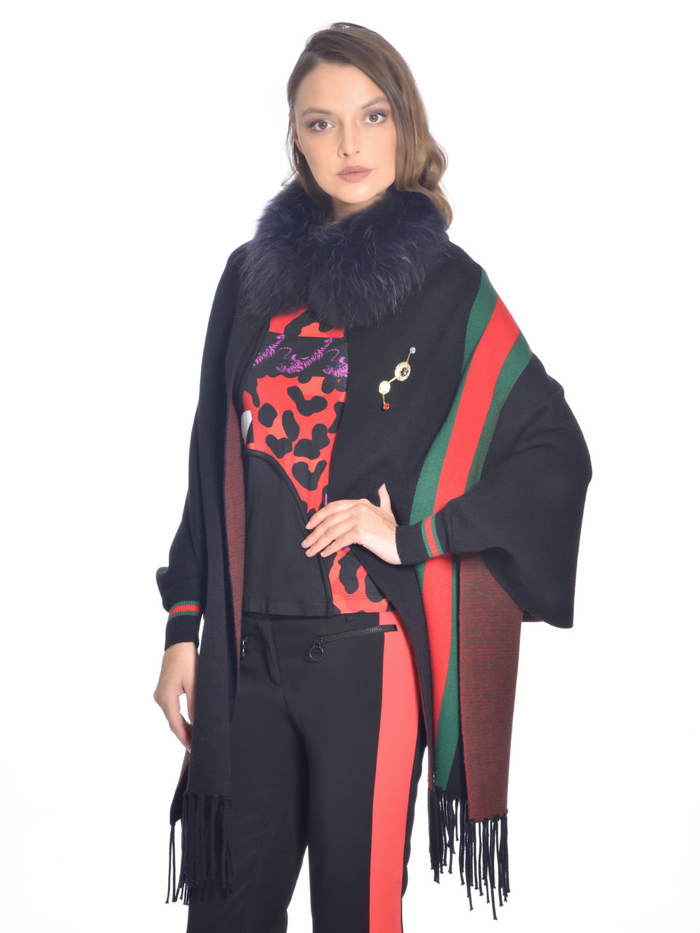 Black Striped Fox Fur Cape, CHIZELLE - elilhaam.com