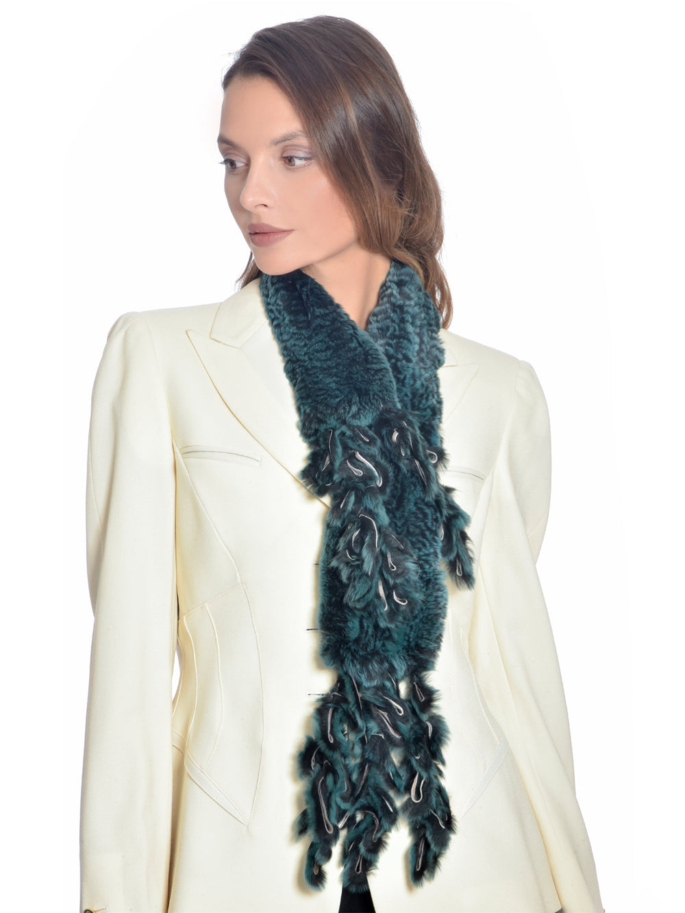Green Rabbit Fur Scarf