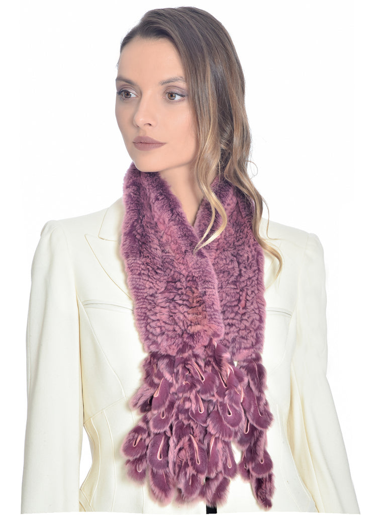 Mulberry Rabbit Fur Scarf, CHIZELLE - elilhaam.com