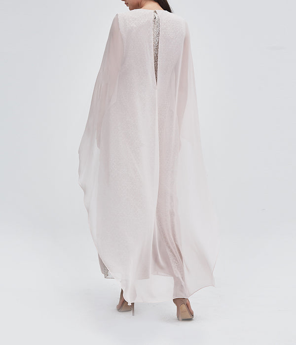 Blush Overlapped Cape Dress