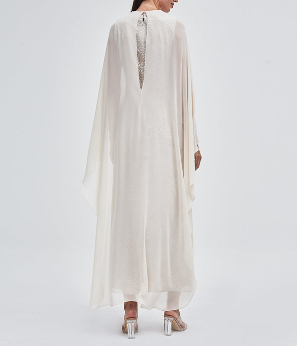 Créme Overlapped Cape Dress