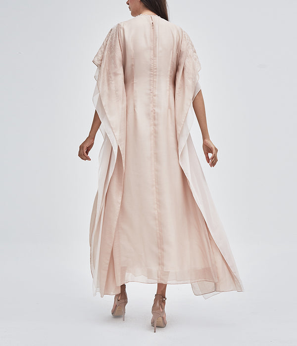 Blush Pleated Farasha Kaftan