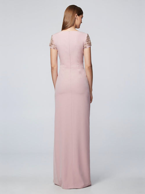 Blush Short-Sleeved  Gown, DAVID MEISTER PRE-FALL 2018 - elilhaam.com
