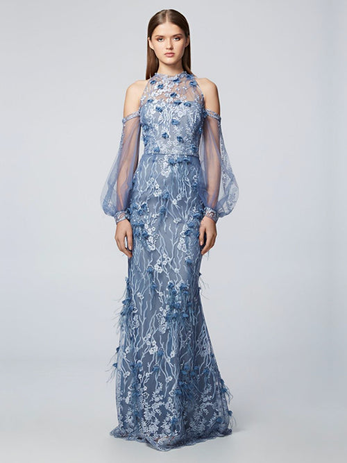 Bishop Sleeve Embroidered Gown, DAVID MEISTER PRE-FALL 2018 - elilhaam.com
