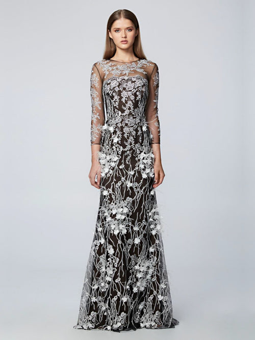 Floral Embellished Embroidered Gown