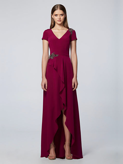 Hi-Low Short-Sleeved  Gown