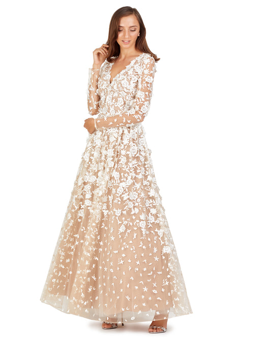 Long Sleeves Embroidered Gown