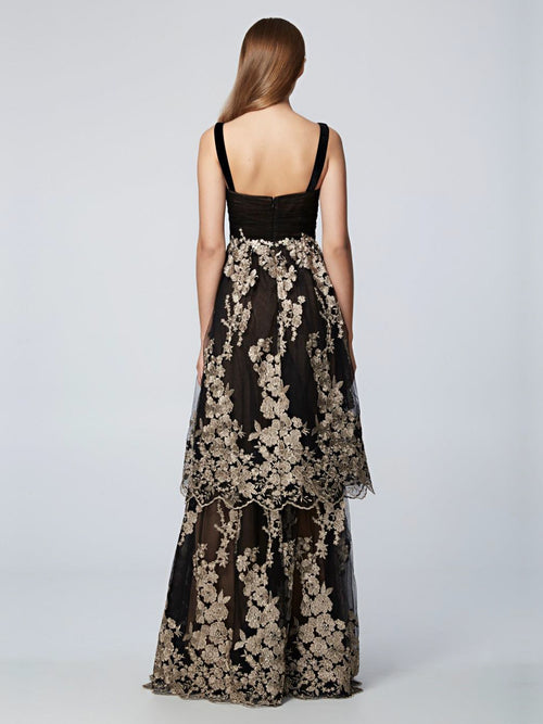 Black Sleeveless Tiered  Gown, DAVID MEISTER PRE-FALL 2018 - elilhaam.com