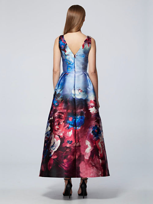Sleeveless Midi FLoral Gown