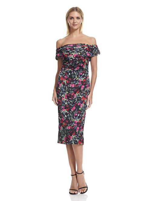 Floral Off Shoulder Dress, DAVID MEISTER - elilhaam.com