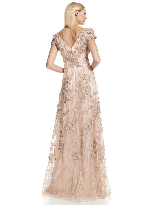 Emroidered Cap Sleeve Gown, DAVID MEISTER - elilhaam.com