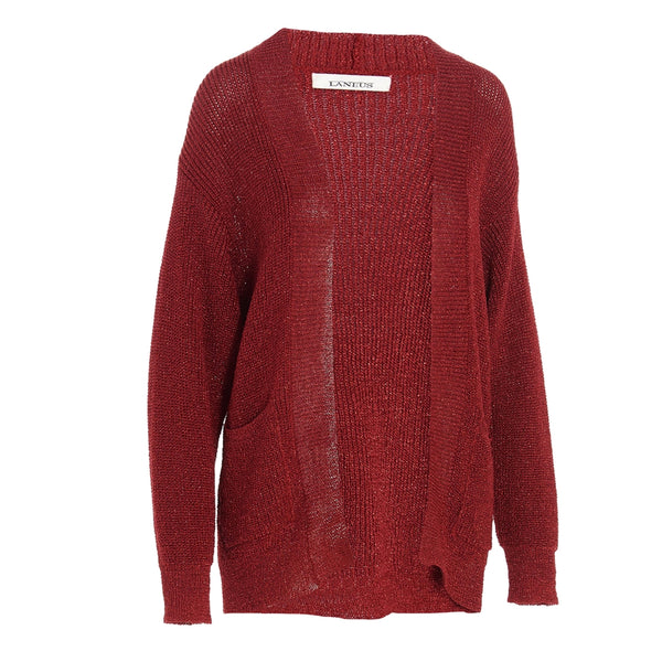 Red Slouchy Knitted Cardigan