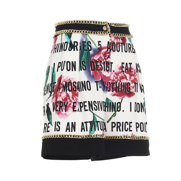Multicolor Chain-Trimmed Rose-print Shorts