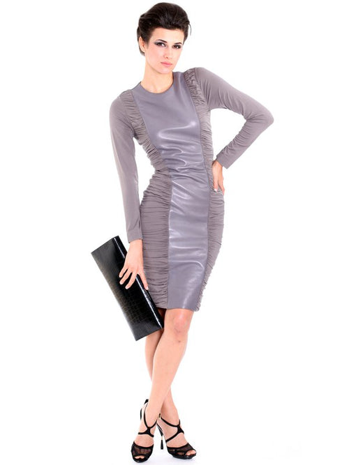 Grey Leather pleated Dress