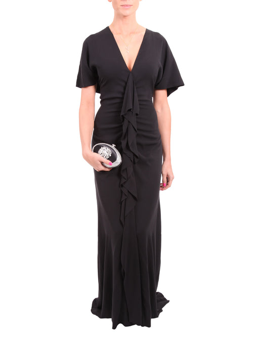 Black Viscose Stretch Gown, GUY LAROCHE - elilhaam.com