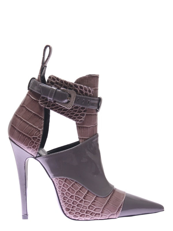 Grey Leather Ankle Boot