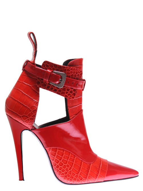 Red Leather Ankle Boot, GUY LAROCHE - elilhaam.com