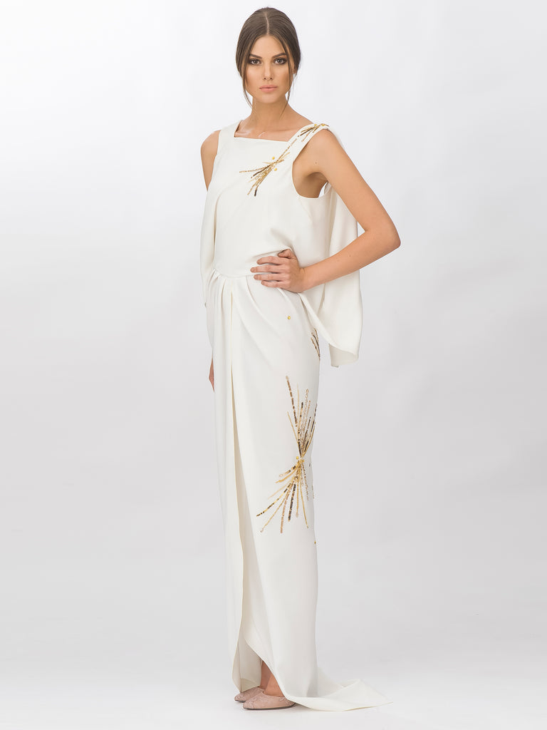 White With Gold Embroidery Gown