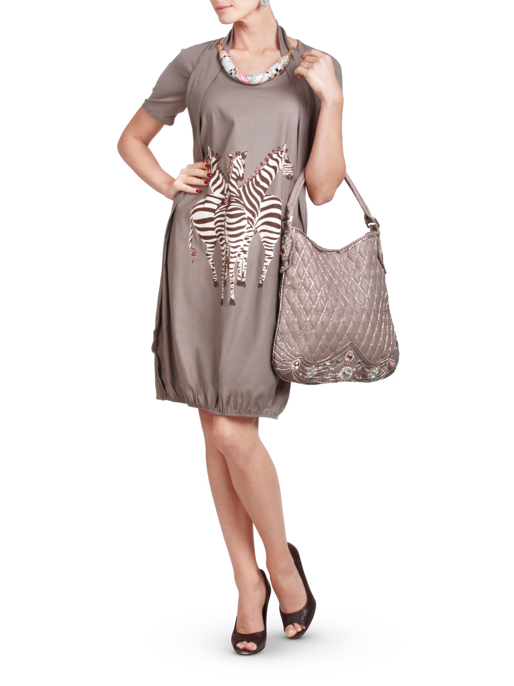 Dark beige Jersey dress with Giraffe print