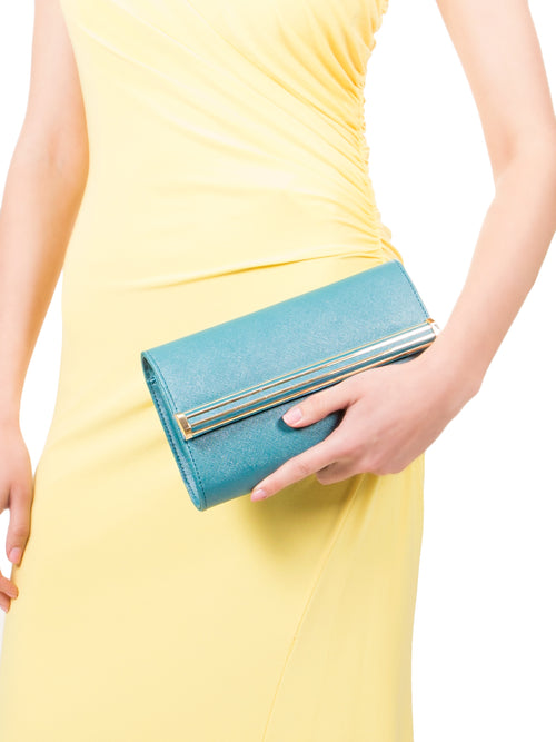 Blue textured Leather Clutch, IVANKA - elilhaam.com