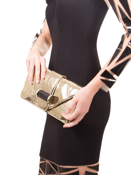 Gold Clutch Pewter, IVANKA - elilhaam.com