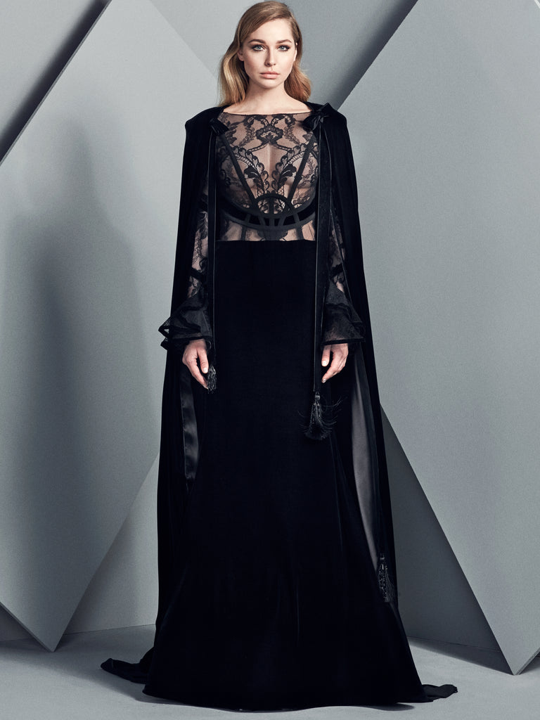 Velvet Long Gown With Geometric Lace