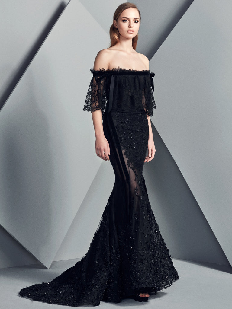 Black Tulle With Embroidered Lace