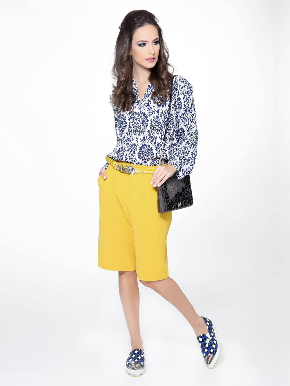 Navy Floral Print Top, CJF - elilhaam.com