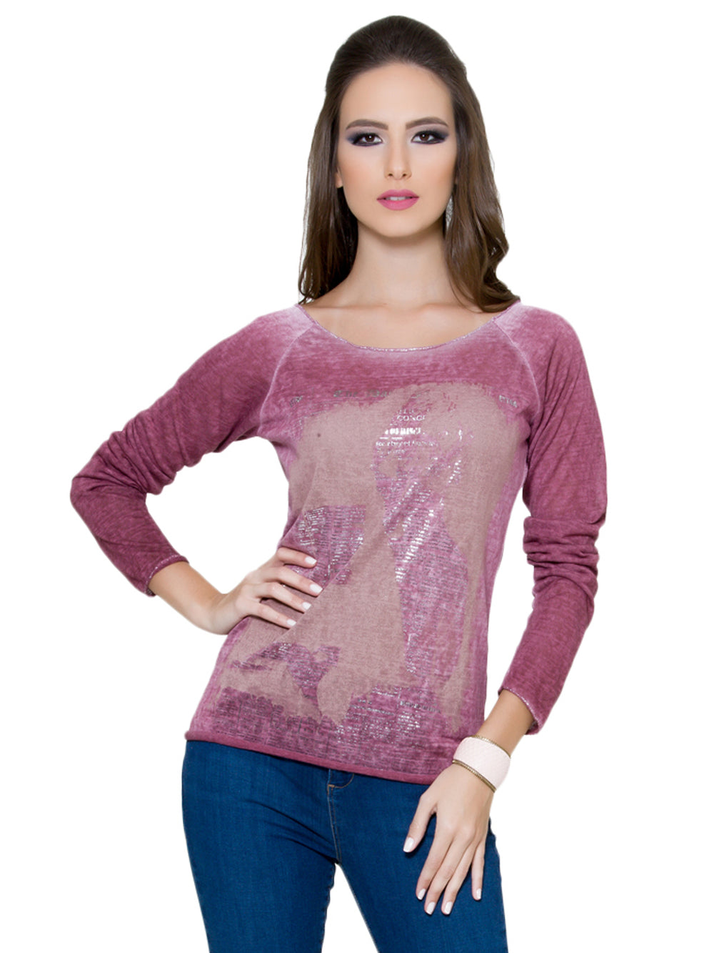 Maroon Long Sleeves Top, CJF - elilhaam.com