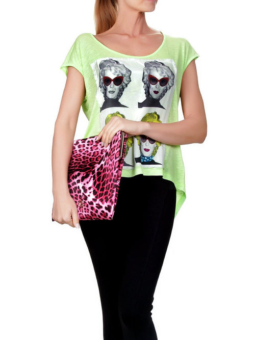 Starlight Printed Fuschia Leopard Clutch, CAVALLI CLASS - elilhaam.com
