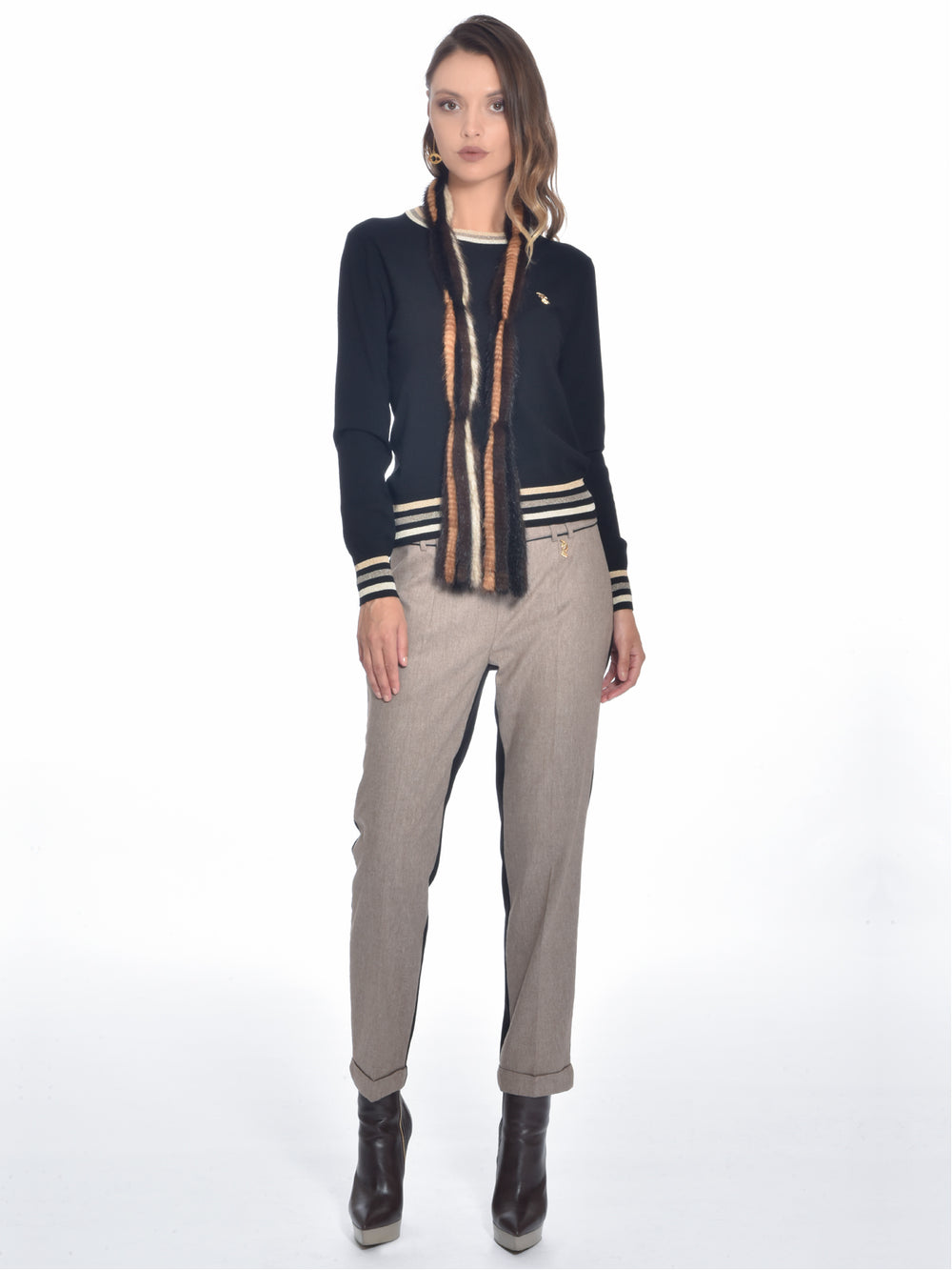 Beige and Black Block Pants, ROBERTA SCARPA - elilhaam.com