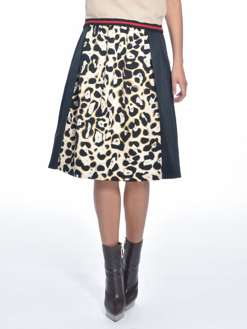 Cheetah Paneled Midi Skirt